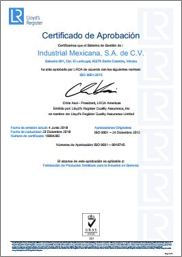 IM Acero ISO 9001:2015
